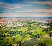 Aerial view of Olympiapark . Munich, Bavaria, Germany — Fotografia Stock