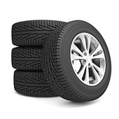 Set of car winter tires isolated — Stock Photo