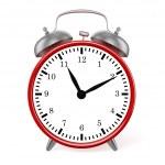 Red retro styled classic alarm clock isolated — Stock Photo
