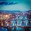 Panoramic view of Prague bridges over Vltava river — Stock Photo #44921875