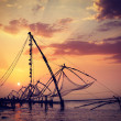 Chinese fishnets on sunset. Kochi, Kerala, India — Stock Photo