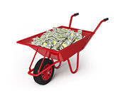 Wheel barrow full of dollars isolated on white background — Stock Photo