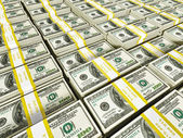 Background of rows of dollar bundles — Stock Photo