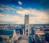 Saint Bavo Cathedral and Sint-Baafsplein, view from Belfry — Stock Photo