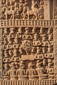 Gateway decoration Great Stupa. Sanchi, Madhya Pradesh, India — Stock Photo