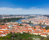View of Charles Bridge over Vltava river and Old city — Stock Photo