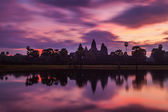 Angkor Wat - famous Cambodian landmark - on sunrise — Stock Photo