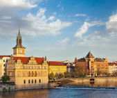 Prague Stare Mesto embankment view from Charles bridge — 图库照片