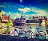 Bridge, bicycles and canal. Ghent, Belghium — Stock Photo