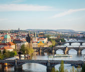 Panoramic view of Prague bridges over Vltava river — Photo