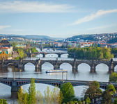 Panoramic view of Prague bridges over Vltava river — Foto de Stock