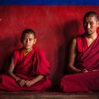 Tibetan Buddhist monks in Diskit monastery. Nubra valley, Ladakh — Stock Photo