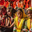Unidentified Rajasthani girls preparing for dance perfomance — Stock Photo #45096001
