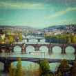 Panoramic view of Prague bridges over Vltava river — Stock Photo #45096117