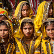 Unidentified Rajasthani girls preparing for dance perfomance — Stock Photo #45096519