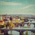Panoramic view of Prague bridges over Vltava river — Stock Photo #45096575