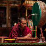 Praying monk. Hemis gompa, Ladakh — Stock Photo