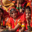 Unidentified Rajasthani girls preparing for dance perfomance — Stock Photo #45096931