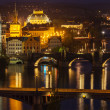 Panoramic view of Prague bridges over Vltava river — Stock Photo #45097143