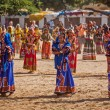 Unidentified Rajasthani girls preparing for dance perfomance — Stock Photo #45097261