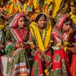 Unidentified Rajasthani girls preparing for dance perfomance — Stock Photo #45097317