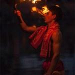 Brahmin performing Aarti pooja ceremony on bank of river Kshipra — Stock Photo #45097611