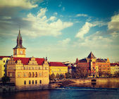 Prague Stare Mesto embankment view from Charles bridge — Stock Photo