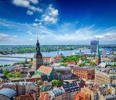 Aerial view of Riga center from St. Peter's Church, Riga, Latvia — Stock Photo