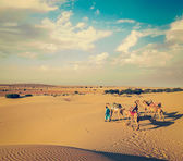 Two cameleers (camel drivers) with camels in dunes of Thar desert — Stock Photo