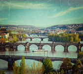 Panoramic view of Prague bridges over Vltava river — Стоковое фото