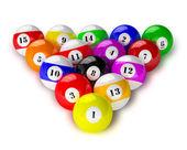 Set of billiard pool balls on white — Stockfoto