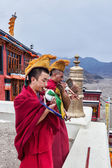 Tibetan Buddhist monks blowing conches during morning pooja — Stock Photo