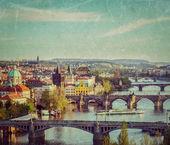 Panoramic view of Prague bridges over Vltava river — Stock Photo