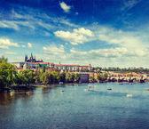 View of Charles bridge over Vltava river and Gradchany, Prague — Stock Photo