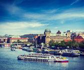 Tourist boats on Vltava river in Prague — Stock Photo