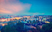 Panoramic view of Prague bridges over Vltava river — ストック写真