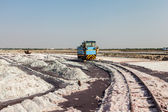 Small train at salt mine at lake Sambhar, Rajasthan, India — Stock Photo