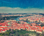 View of Charles Bridge over Vltava river and Old city — Stok fotoğraf