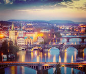 Panoramic view of Prague bridges over Vltava river — Stock Photo
