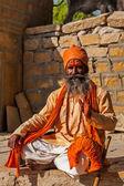 Indian sadhu (holy man) blessing — Stock Photo