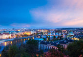 Panoramic view of Prague bridges over Vltava river — Stock fotografie