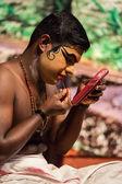 Unidentified Kathakali exponent preparing for performance — Stock Photo
