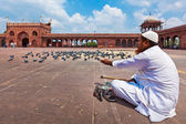 Muslim man feeding pigeons in India largest mosque Jama Masjid — Stock Photo