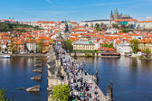 Charles Bridge over Vltava river — Stok fotoğraf