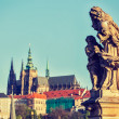 Statue on Charles Brigde in Prague — Stock Photo