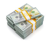 Stack of new 100 US dollars — Stock Photo
