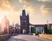 Charles bridge tower in Prague — Stok fotoğraf