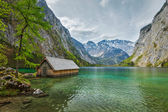 Boat dock on Obersee lake — Stock Photo