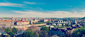 Panoramic view of Prague bridges — 图库照片