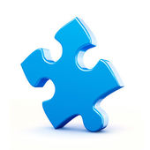 Single blue puzzle piece isolated — Stock Photo